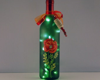 Red poppy wine bottle lamp, hand painted, red and green, wine lover gift