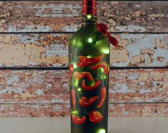 Wine bottle light, red chile peppers, hand painted, red and green, Southwestern decor, accent lamp, kitchen decor