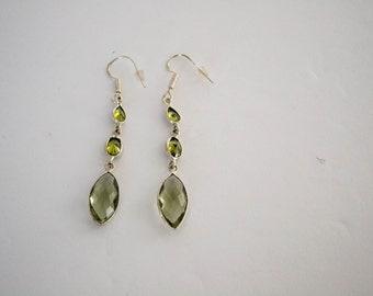 SALE - Green Amethyst Silver Plated Earrings