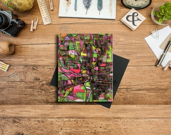 Abstract Map Print of Columbus OH