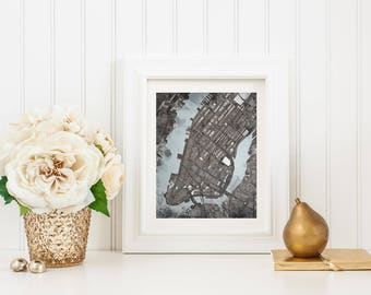 Abstract Map Print of Manhattan NYC