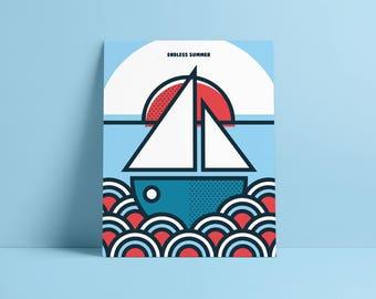 Endless Summer, Pop Art, Summer, Greek Island, boat, landscape, Colour, illustration, Wall Art, Home Decor, Poster, 40 x 50cm, Geometric
