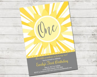 Sunshine Birthday Party Invitation - Our Little Sunshine - First Birthday - Sun - Yellow Gray - Printable