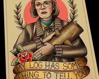 Twin Peaks Log Lady Tattoo Flash Art Print