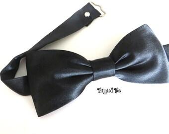 Bow Tie Black Satin Bow Tie, Black Satin Pretied Bow Tie, Men's Black Satin Bow Tie