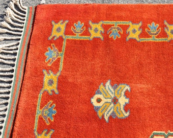 SALE -- 299 --Mint Turkish Red Village Rug -- 6 ft. 6 in. by 5 ft.