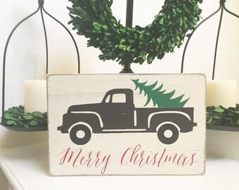 Merry Christmas wood sign - Vintage Christmas sign decor - Rustic Christmas sign decor - Vintage Truck Christmas Tree Farm - Christmas decor