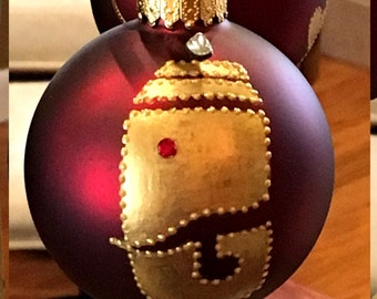 Ganesh, Golden Ganesh on Deep Red Glass Bulb with Crystals, Handpainted Ornament, Red, Gold, Christmas Ornament, Handmade Ornament