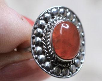 Carnelian Sterling Silver Ring Size 6 1/2