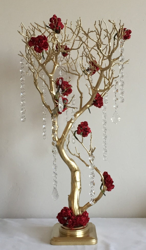 Gold manzanita tree centerpiece wedding by