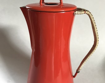 Vintage Dansk IHQ Kobenstyle  Red Enamel Coffee Pot percolator