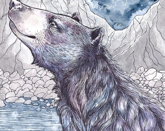 Print -The bear and the Moon - Ink and watercolour bear illustration archival print