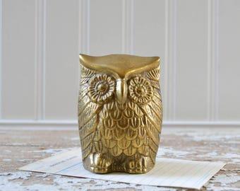 Vintage Brass Owl Figurine - Gold Paper Weight Home Decor Bird Statue