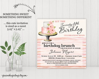 75th Birthday Party Invitation, Adult Birthday Invite, Women's Birthday, 21st, 30th, 40th, 50th, 65th, 70th, 80th, 90th Celebration,