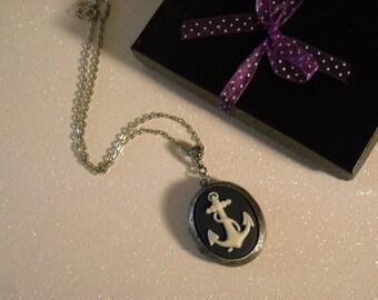 Ivory Anchor Antique Silver Locket Pendant Necklace