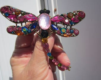 Impressive DRAGONFLY large brooch w sparkling multicolor CRYSTALS!