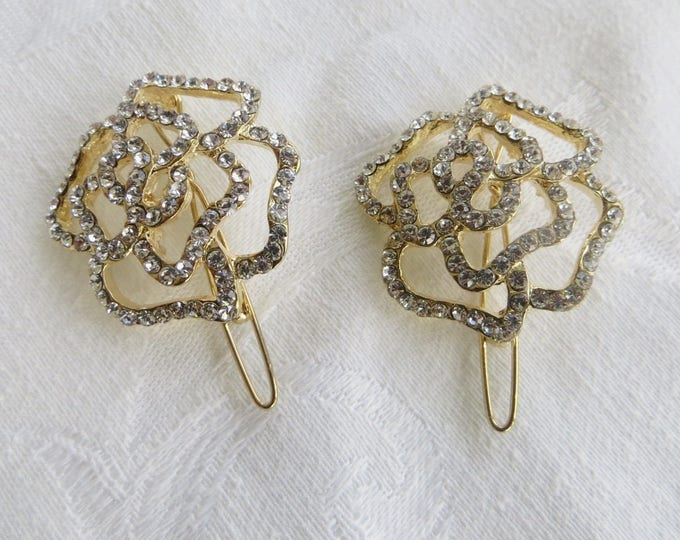 Vintage Rhinestone Hair Clips, Camillia Flowers, Gold and Clear Rhinestone Pair, Wedding Bride
