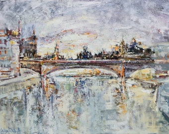 Snowy winter city Original oil painting Ready to hang Contemporary Fine art by Valiulina