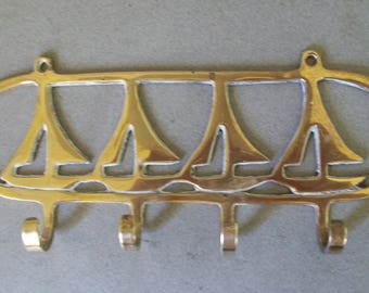 Vintage Brass Sailboat Wall Hook - Solid Brassl Wall Hook - Brass Towel Hook - Brass Nautical Wall Hook- Clothes Hook - Beach Wall Hook