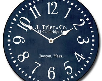 Navy Blue Wall Clock