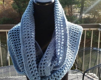 Super large infinity scarf, Crochet Cowl, Crochet Woman's Scarf, Country blue color scarf with Boho headband to match your outfit