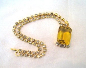 Vintage Necklace Large Amber Rhinestone  Drop Pendant Clear Crystal Rhinestones Gold Tone Chain Art Deco 1980's Jewelry