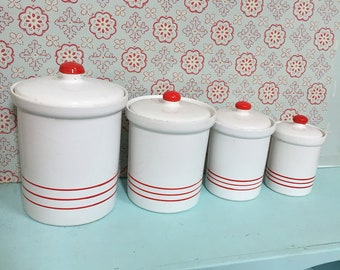 Set of 4 Antique Vintage Red and White Kitchen Canisters with Lids - Retro Kitchen Canisters - Red and White Kitchen Canister Set