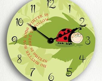 Cute Ladybug Winter Spring Inspirational Silent Wall Clock