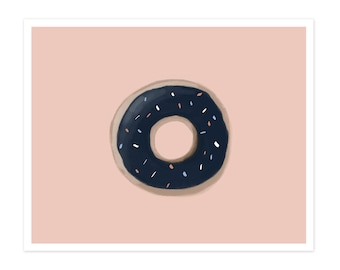 Donut Fine Art Print - Navy and Pink