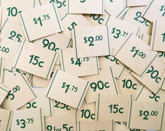 vintage price tags • assorted set of 50 • 1950's general store | grocery | mercantile shelf tags • cream and green • craft supply