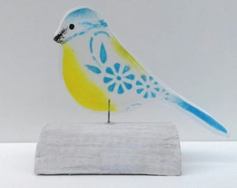 Fused Glass Bird Blue Tit On Wood