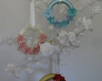 Hand Crafted Floral Decorative Wreath Available in 3 colours (others made to order) *Free P&P*