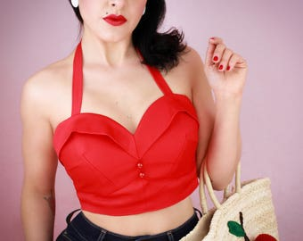 Red Classic 1950's Bustier Top