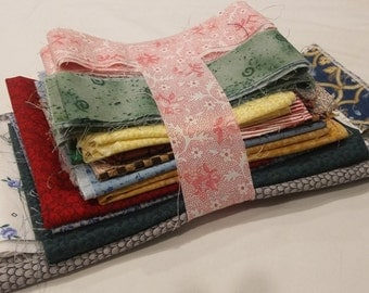 Fabric Destash Bundle Assorted Scraps Pieces Quilting, Crafts, Mini Quilts - Small Prints