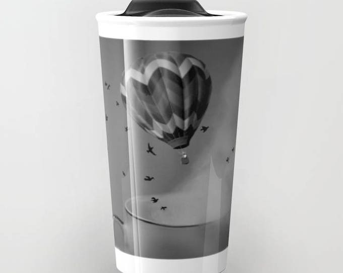 Travel Mug - Hot Air Balloon Ceramic Coffee Travel Mug - Hot or Cold Travel Mug - 12oz Travel Mug - Made to Order