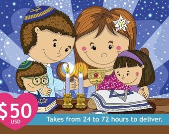 Customizable Digital Illustration Family doing Shabbat Shalom