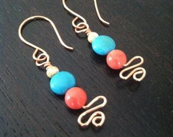 Handmade Copper Earrings, Turquoise Howlite Coral Dangle Earrings, Stick Earrings, Wire Wrapped, Southwestern style Jewelry, Arizona