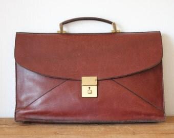 FRANK CLEGG Oxblood Leather Briefcase/ F Clegg Designer Craftsman Burgundy Leather Attache Bag 081215