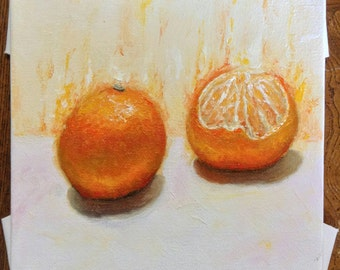 Still life oil painting of oranges