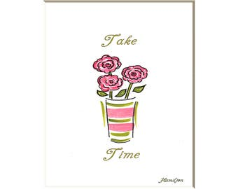 Roses art print, take time to smell the roses, contemporary roses, shabby chic roses, word art, 8x10 print
