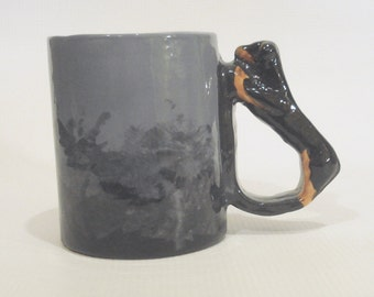Dachshund Mug Black and Tan Doxie Handle Cup Novelty Drinkware Wiener Dog Collectible