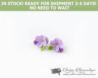 Ready for shipment - Earrings Lilac Syringa - Polymer Clay Flowers