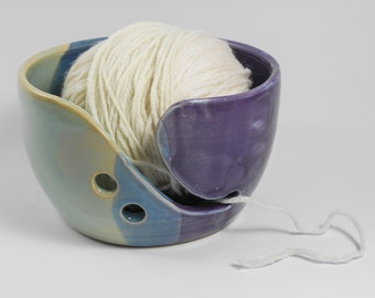 Yarn bowl - knitting yarn bowl - pottery yarn bowl - ceramic yarn bowl - purple green yarn holder  Y41