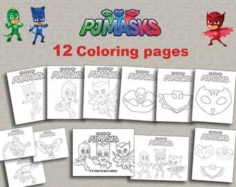 Instand DL -12 PJ Masks Printable coloring pages -  Digital File (NOT editable)
