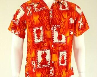 60's Hukilau Fashions Barkcloth Hawaiian Shirt M