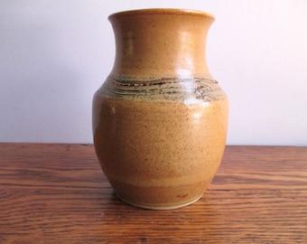 Vintage Gold and Brown Incised Vase