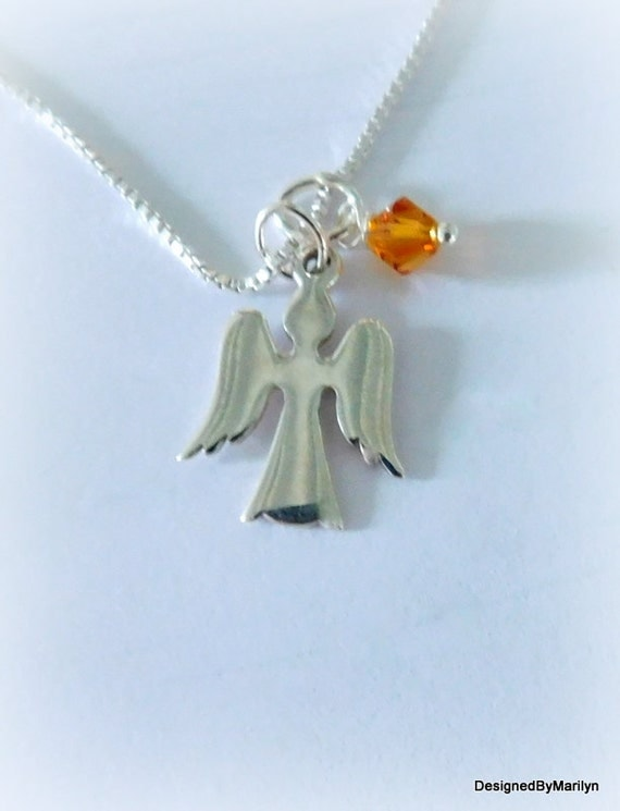 Sterling silver Angel necklace, memorial necklace, spiritual jewelry, under 30 gift, Easter necklace, religious jewelry