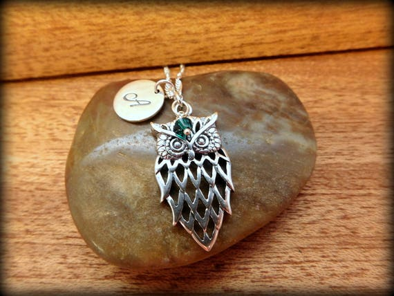 Sterling silver owl necklace,  birthstone necklace, graduation symbol of intelligence