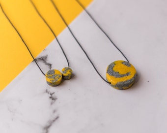 SAMPLES Yellow & Grey Marbled Disc Necklaces // 2 variations //glitter // minimal