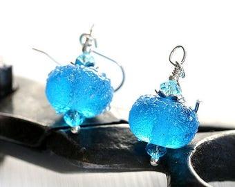50%off SALE Aqua Blue Glass Earrings, Beach Earrings, Blue Earrings, Beach Jewelry, Lampwork earrings, Blue glass Jewelry by MayaHoney